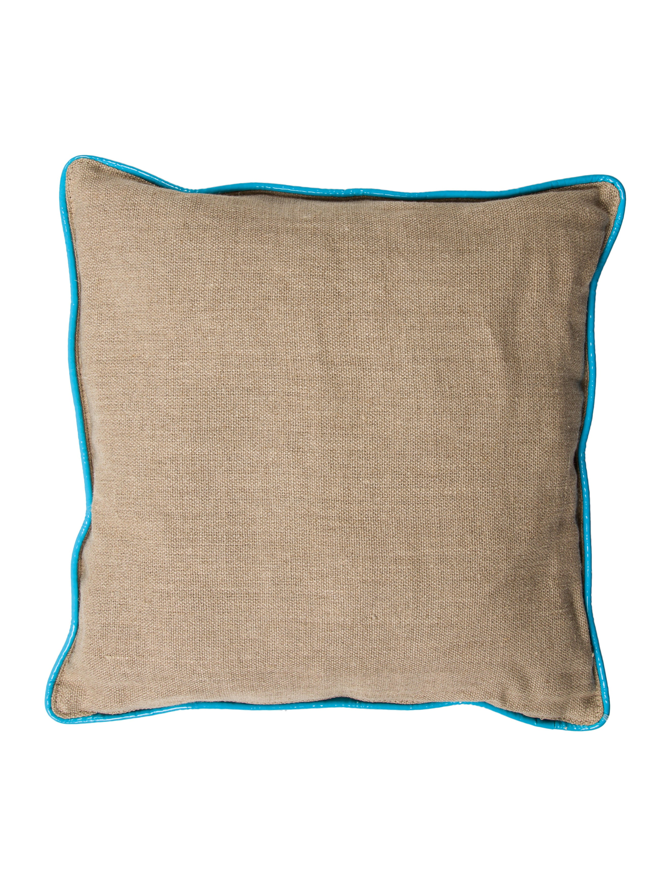 Throw Pillows Justice : Jonathan Adler Leather-Paneled Throw Pillow - Bedding And Bath - JTADL20652 The RealReal