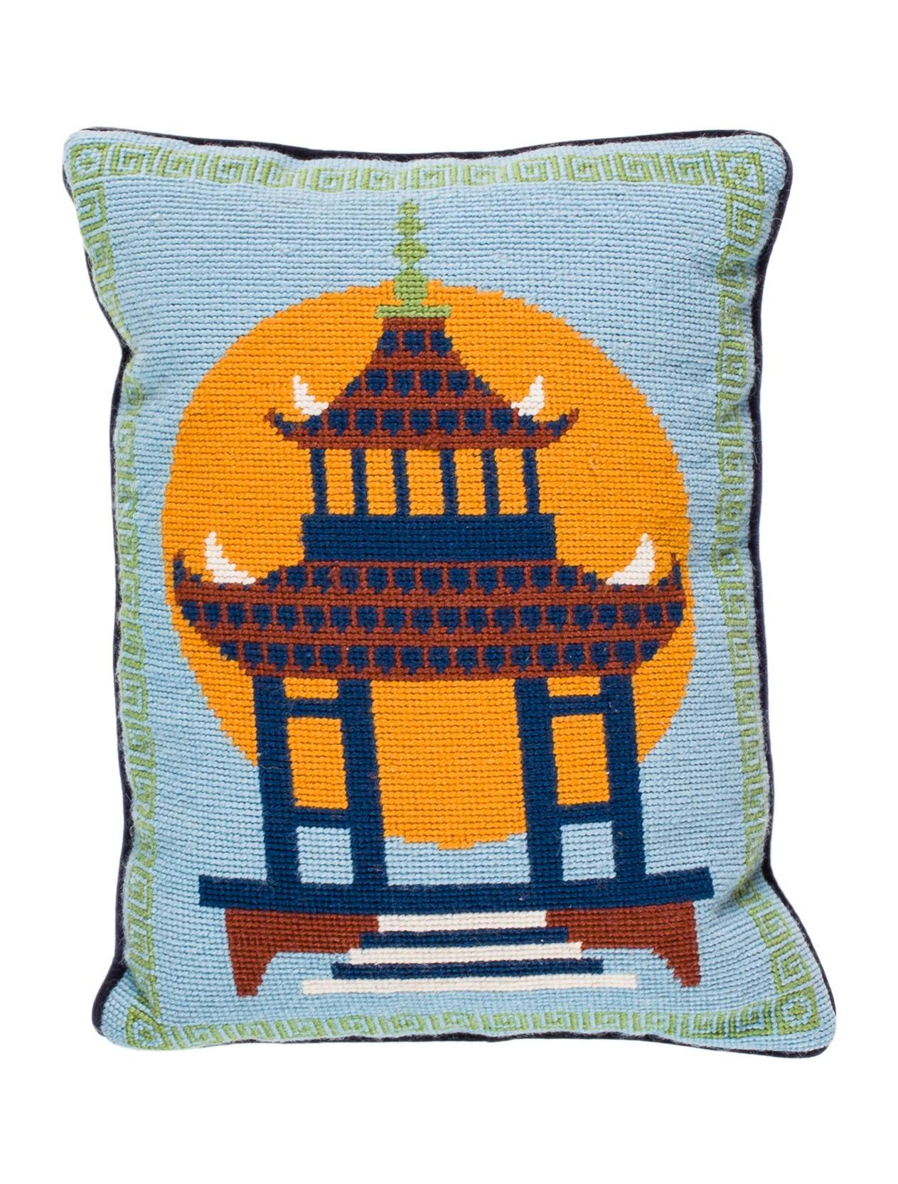 Jonathan Adler Pagoda Needlepoint Throw Pillow - Bedding And Bath - JTADL20744 The RealReal