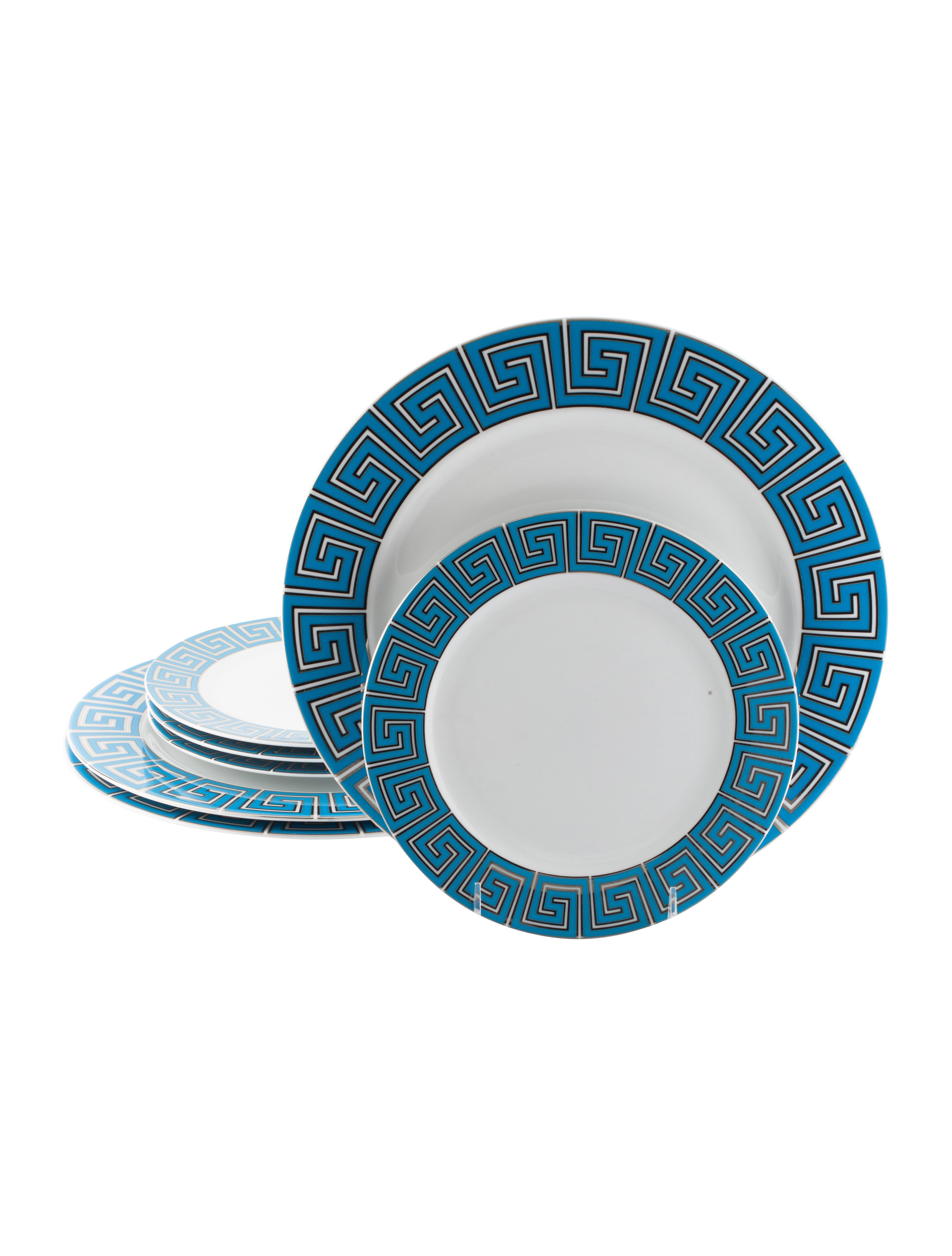 7-Piece Greek Key Dinner Plates u0026 Salad Plates  sc 1 st  The RealReal & Jonathan Adler 7-Piece Greek Key Dinner Plates u0026 Salad Plates ...