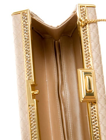 Quilted Satin & Crystal Clutch w/ Tags
