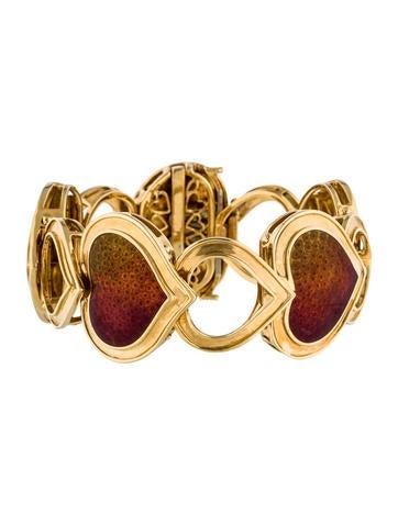 Judith Leiber 18K Enamel Heart Bracelet