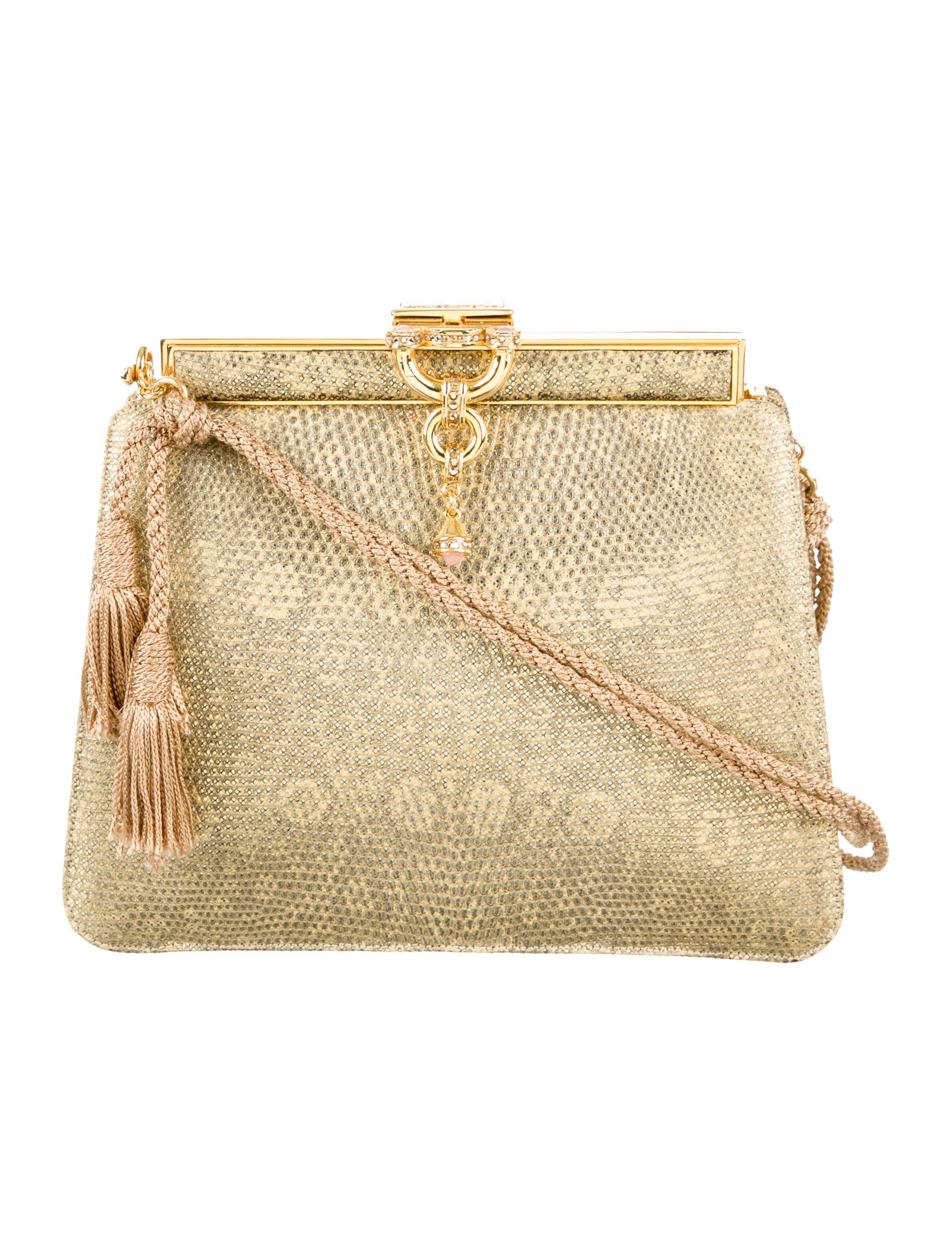 Judith Leiber Metallic Lizard Evening Bag Handbags