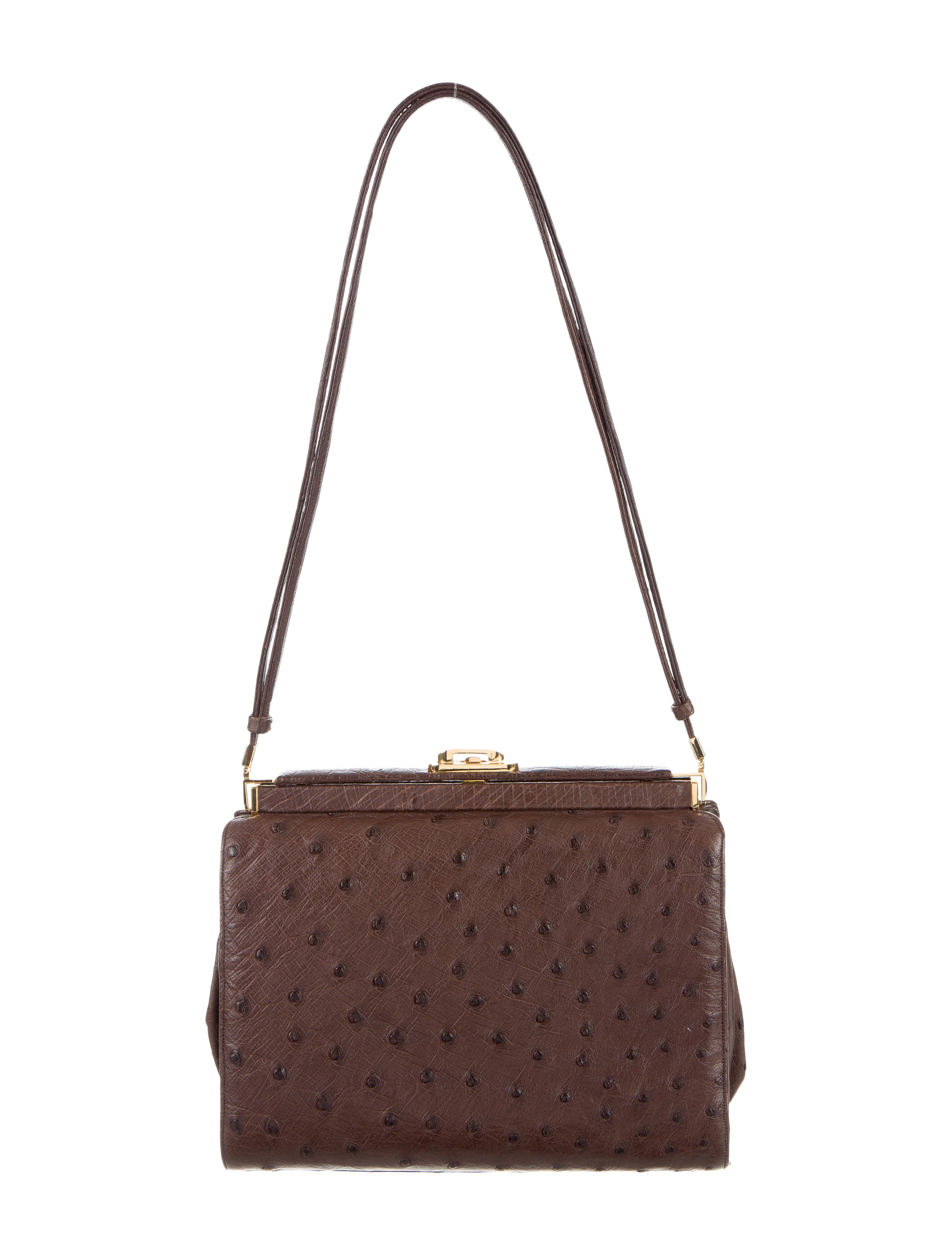 Judith Leiber Ostrich Shoulder Bag - Handbags