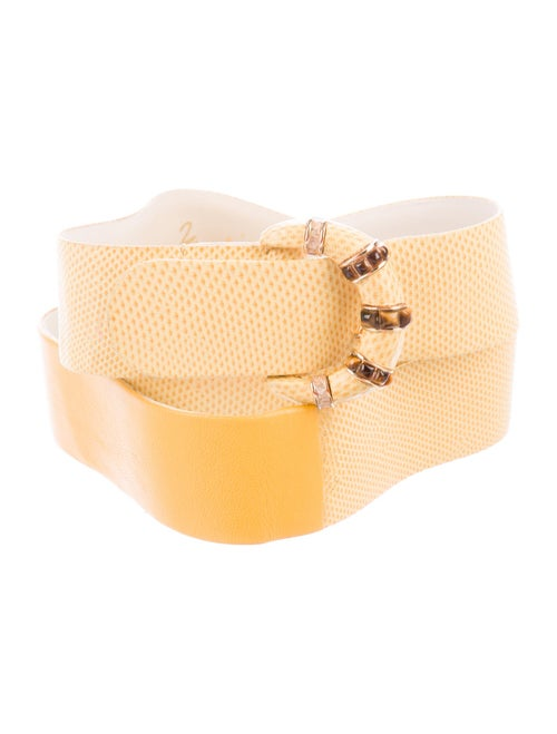 Judith Leiber Lizard Wide Belt Yellow