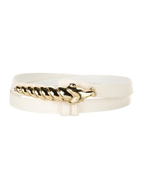 Judith Leiber Leather Hip Belt White