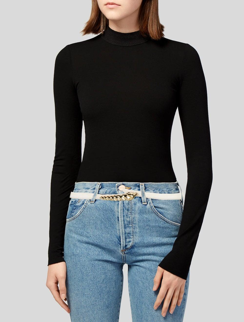 Judith Leiber Leather Hip Belt White - image 2