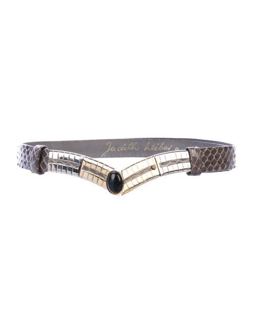 Judith Leiber Snakeskin Belt Grey