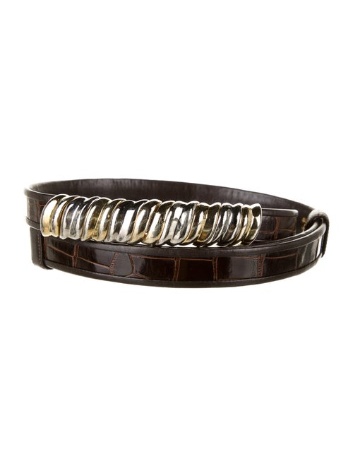 Judith Leiber Alligator Waist Belt Brown
