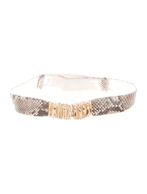 Judith Leiber Python Wide Waist Belt Grey