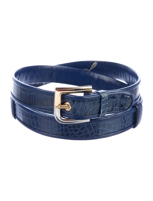 Judith Leiber Crocodile Buckle Belt Blue