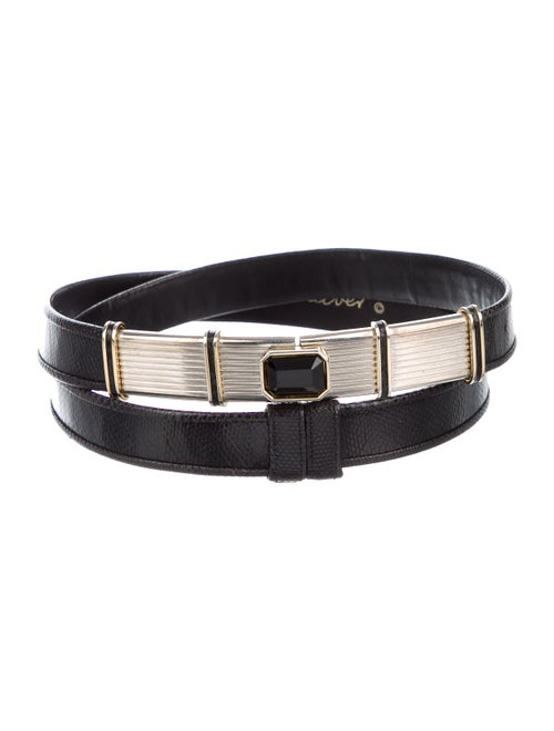 Judith Leiber Leather Buckle Belt Black