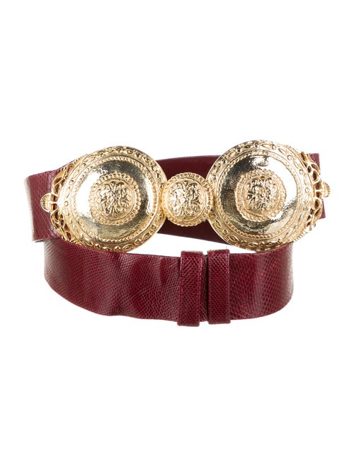 Judith Leiber Lizard Waist Belt Red