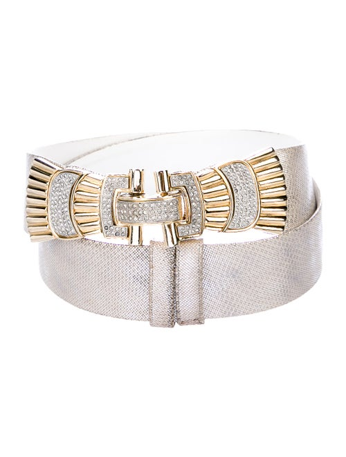 Judith Leiber Embellished Leather Belt Metallic