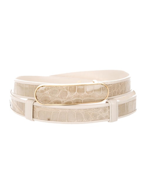 Judith Leiber Embossed Leather Hip Belt gold