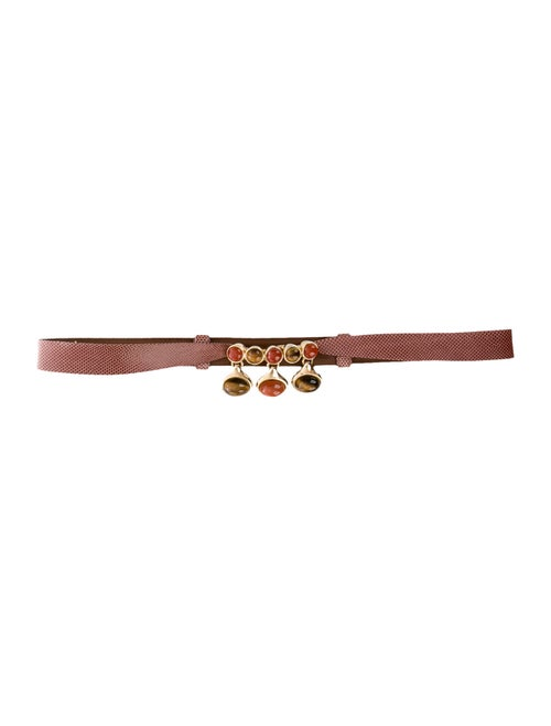 Judith Leiber Karung Waist Belt Brown