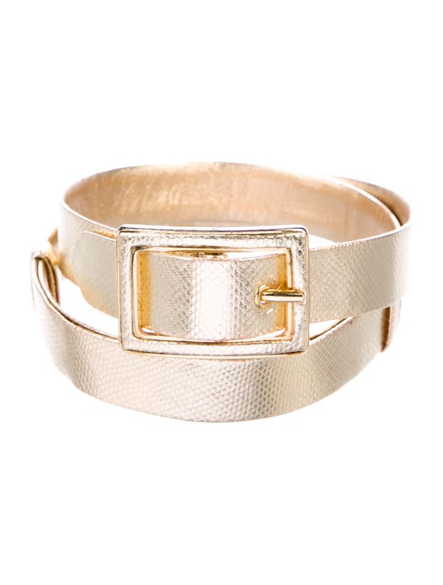 Judith Leiber Metallic Leather Belt Gold - image 1