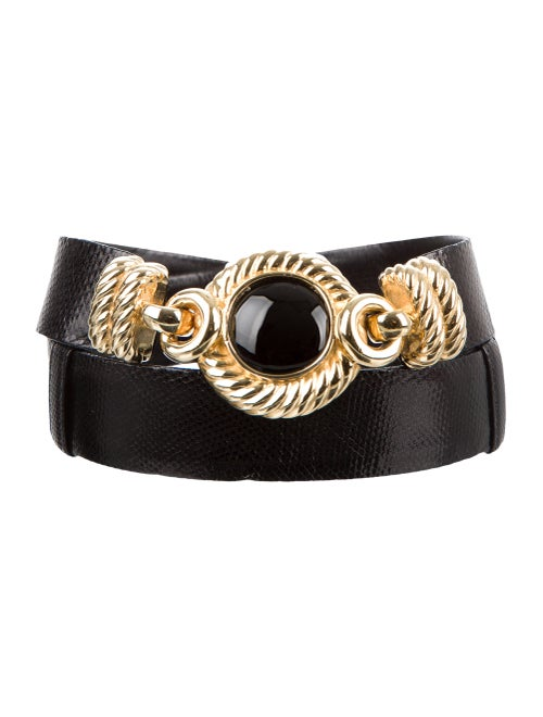 Judith Leiber Lizard Hip Belt Black