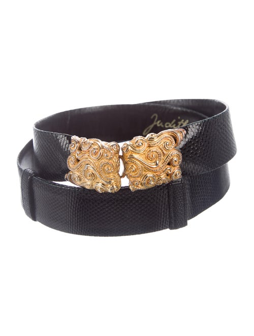 Judith Leiber Embossed Leather Belt Black