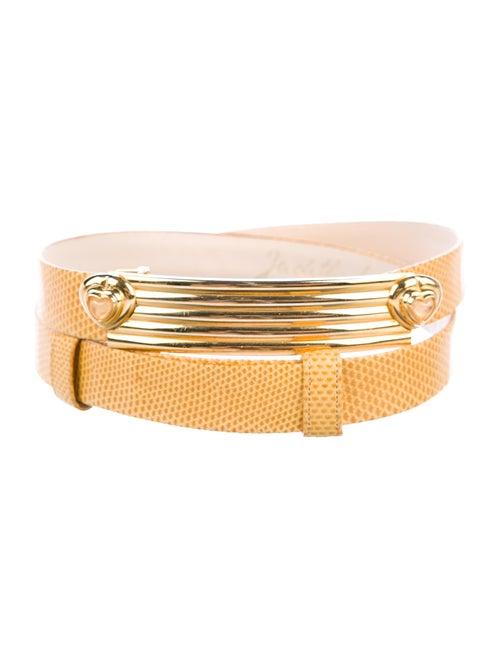 Judith Leiber Lizard Embellished Belt Yellow