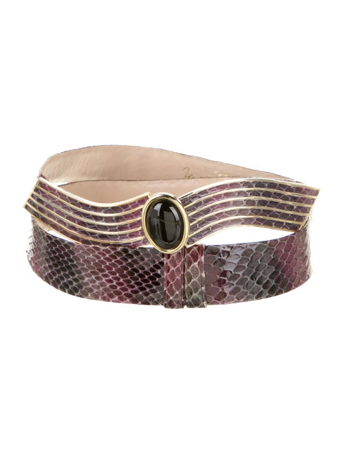 Judith Leiber Snakeskin Hip Belt Purple