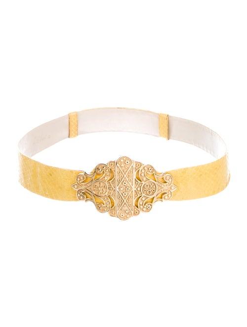 Judith Leiber Snakeskin Waist Belt Yellow - image 1