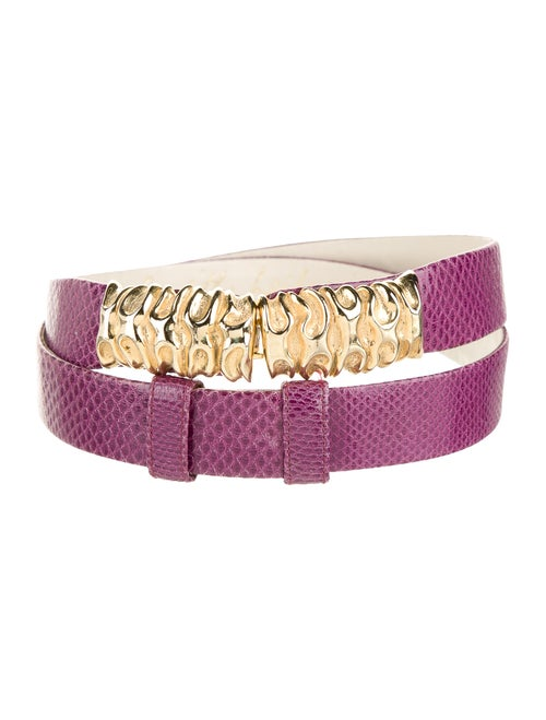 Judith Leiber Snakeskin Adjustable Belt Purple