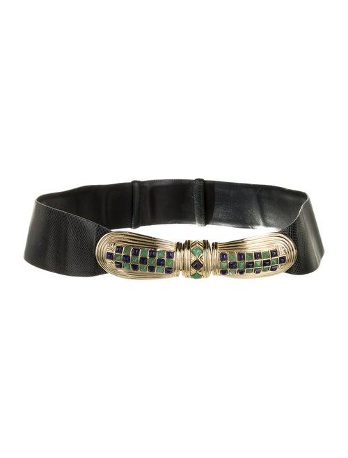 Judith Leiber Karung Adjustable Waist Belt Navy