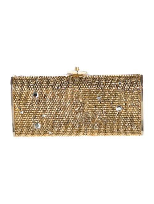Judith Leiber Crystal Embellished Box Clutch Gold - image 1