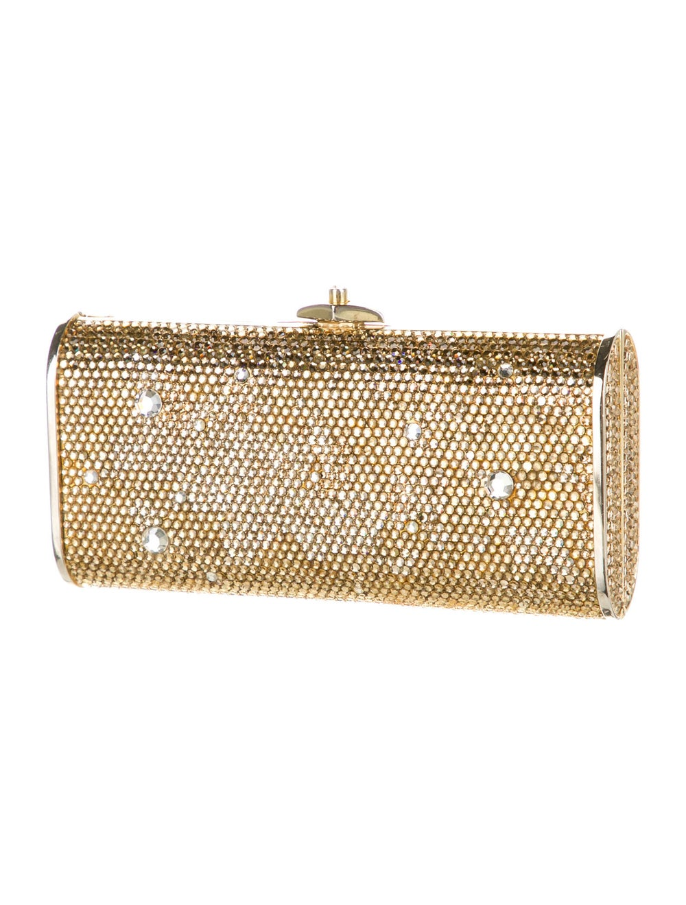 Judith Leiber Crystal Embellished Box Clutch Gold - image 3