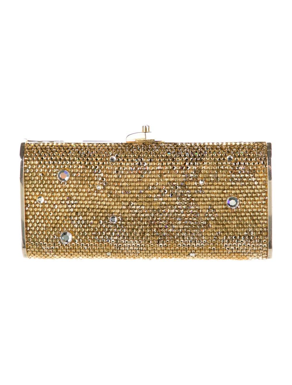 Judith Leiber Crystal Embellished Box Clutch Gold - image 4
