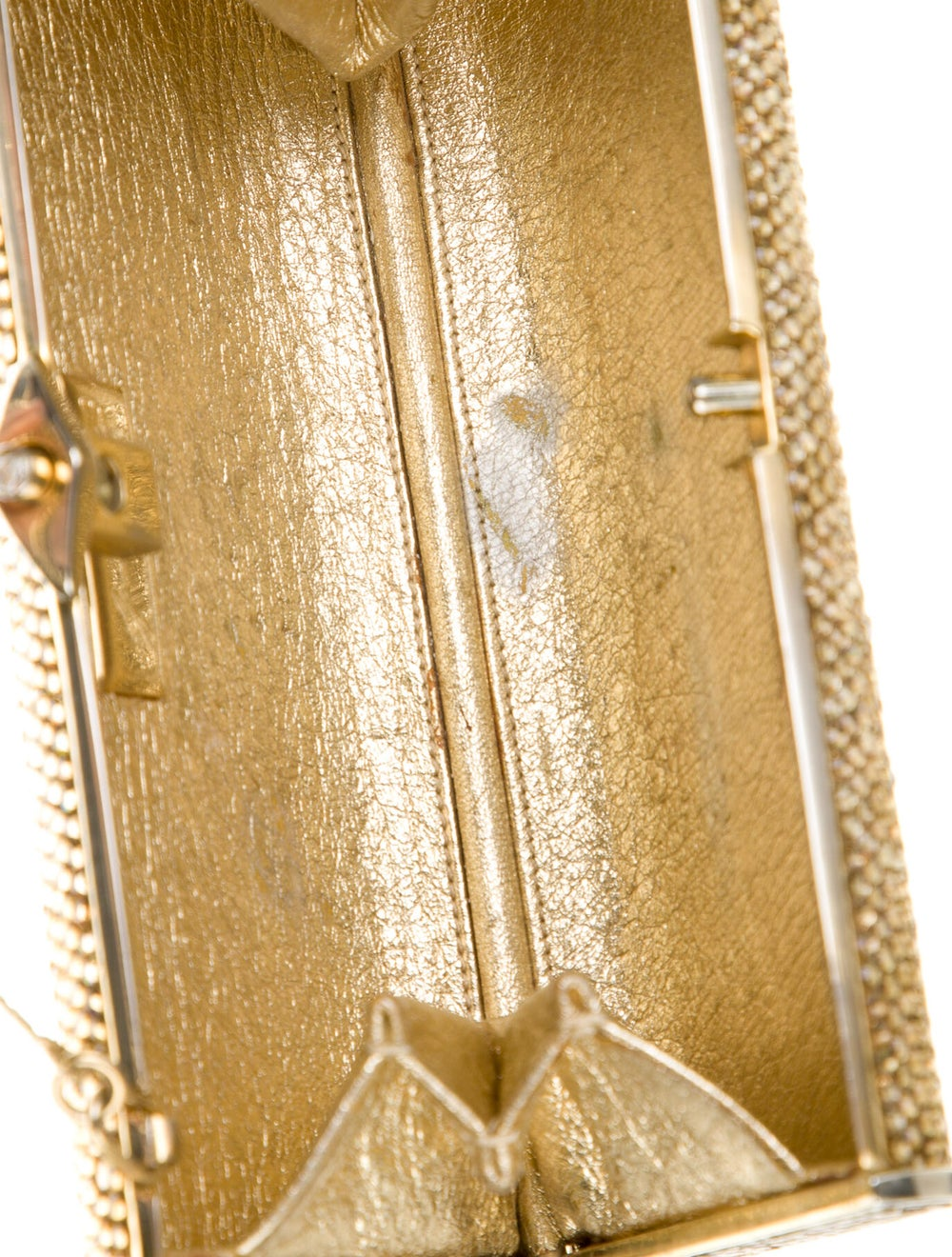 Judith Leiber Crystal Embellished Box Clutch Gold - image 5