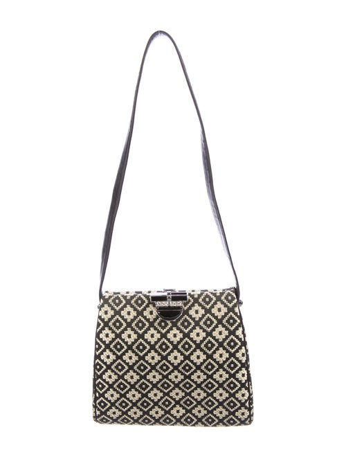 Judith Leiber Straw Woven Shoulder Bag Brown