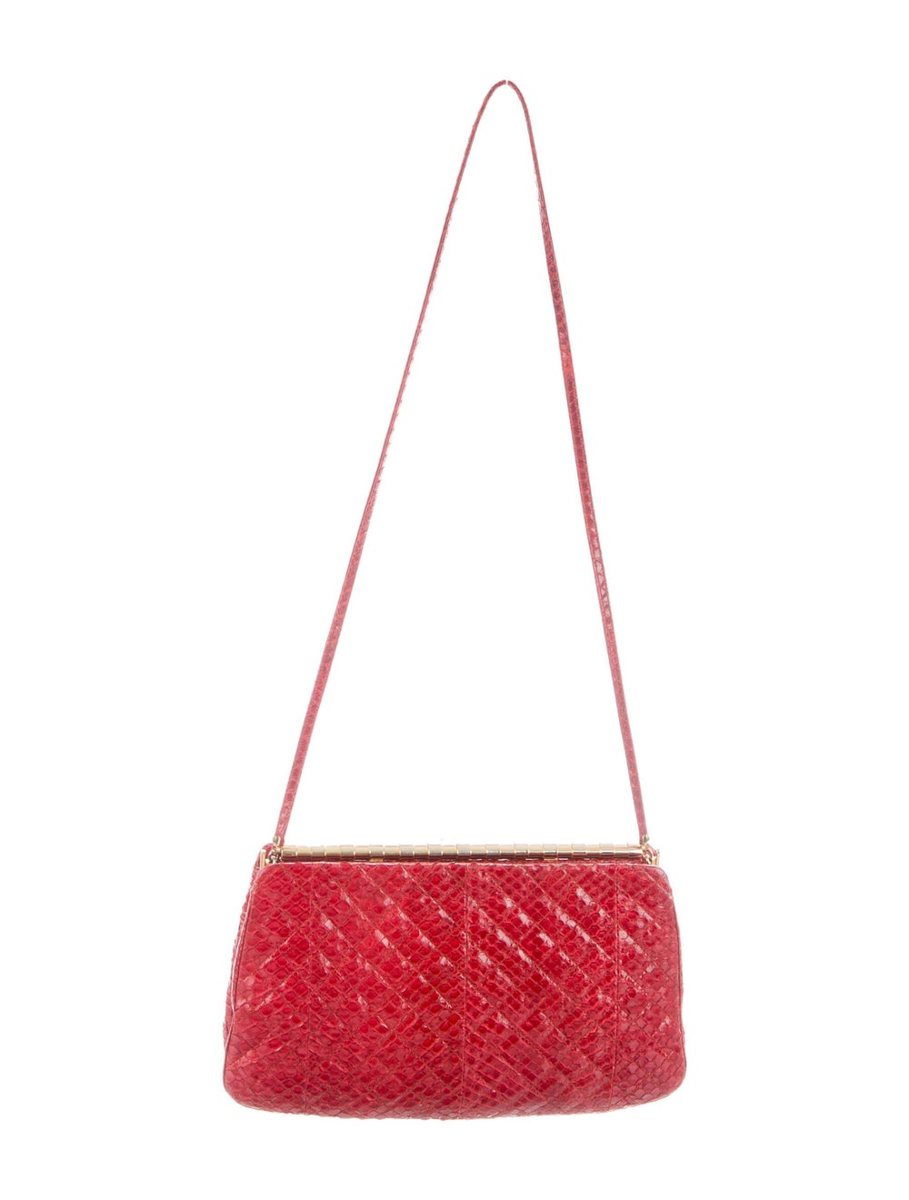 Judith Leiber Snakeskin Evening Bag Red - image 1