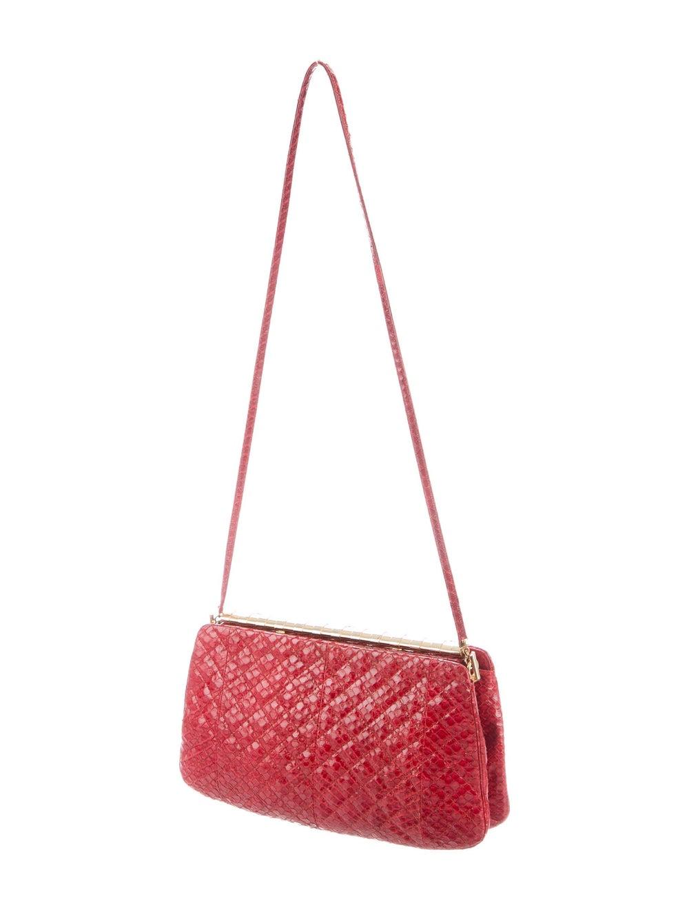 Judith Leiber Snakeskin Evening Bag Red - image 3