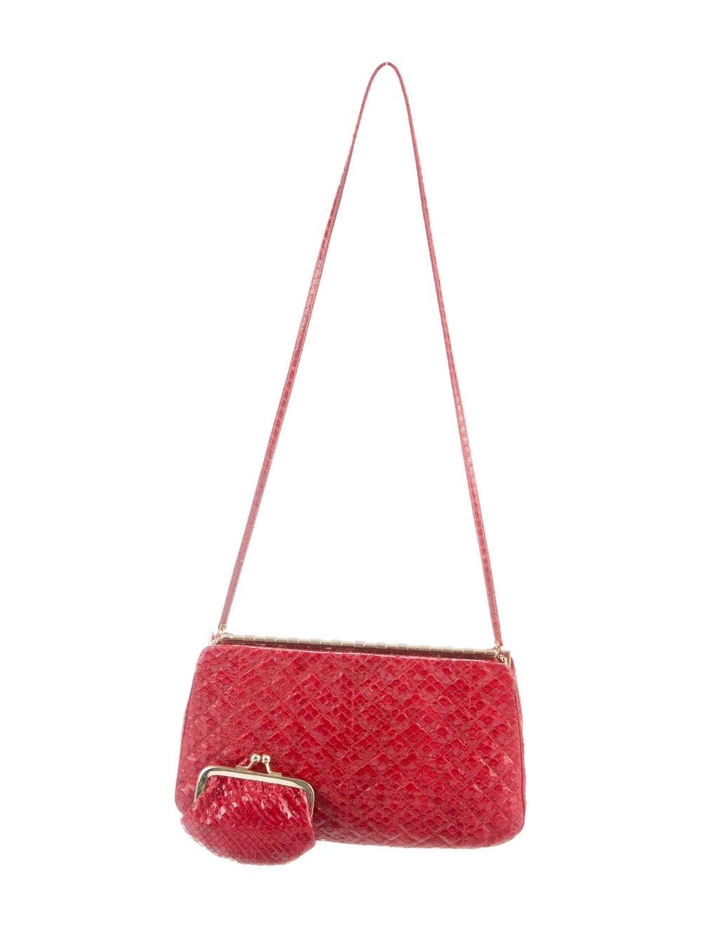 Judith Leiber Snakeskin Evening Bag Red - image 4