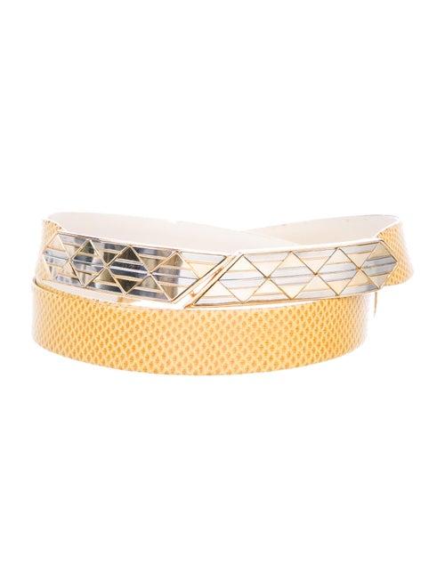 Judith Leiber Leather Belt Yellow
