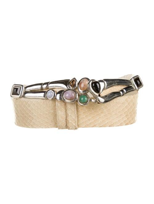 Judith Leiber Snakeskin Belt Silver
