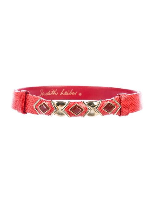 Judith Leiber Snakeskin Belt Red