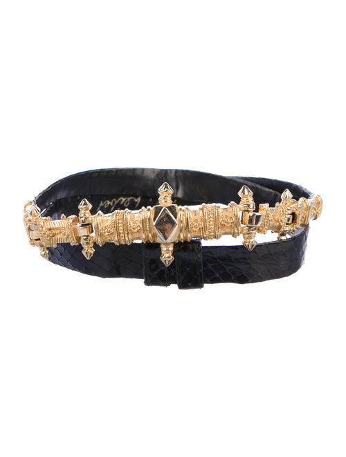 Judith Leiber Snakeskin Belt Black