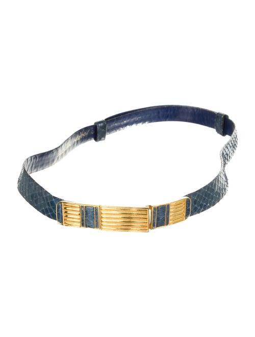 Judith Leiber Snakeskin Belt Blue