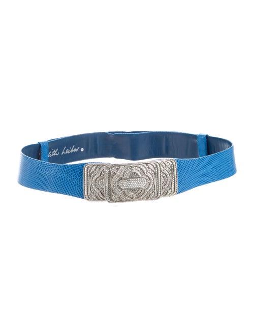 Judith Leiber Leather Belt Blue