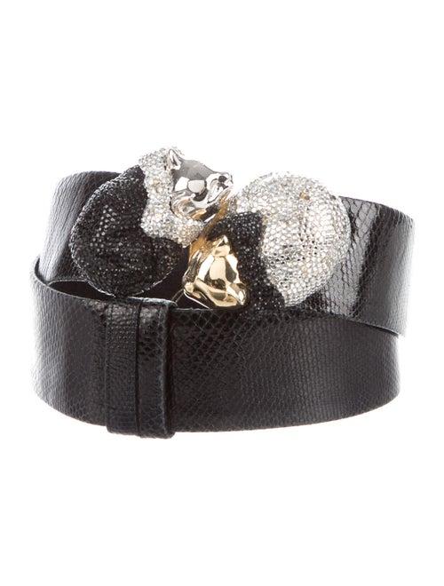 Judith Leiber Leather Crystal Embellishments Belt
