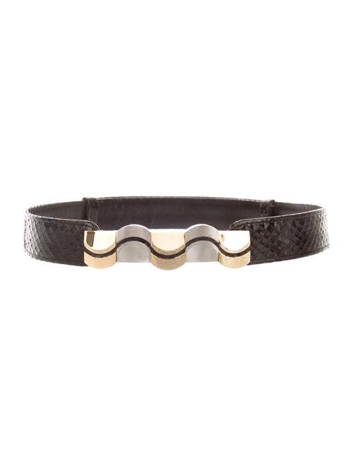 Judith Leiber Leather Waist Belt Black