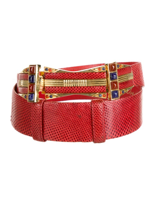 Judith Leiber Embossed Leather Belt Red