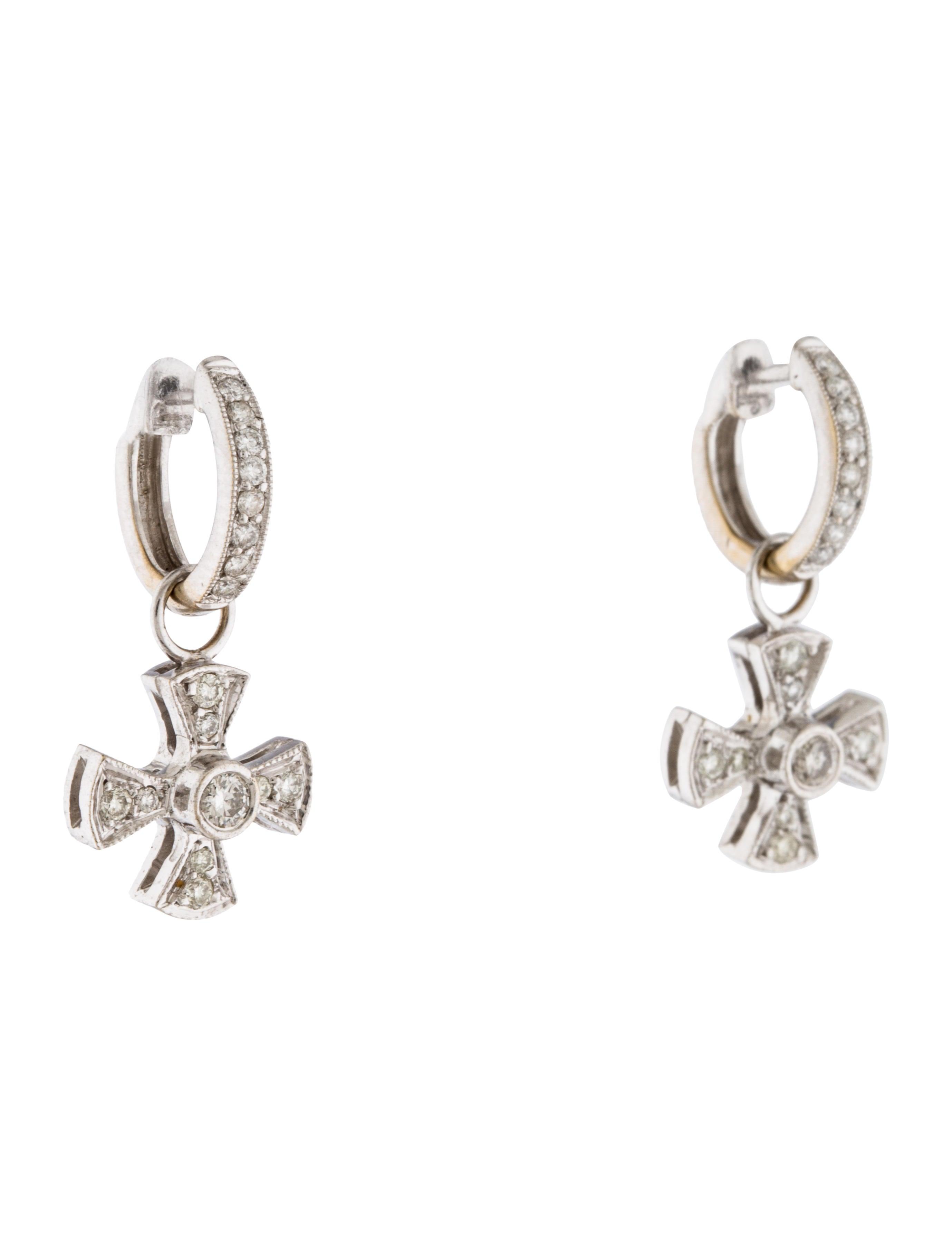 Diamond Cross Earrings For Sale