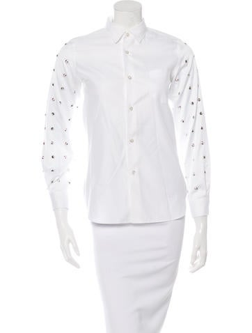 Junya Watanabe Spike-Embellished Button-Up Top None