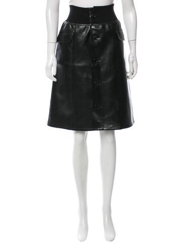 Junya Watanabe Faux Leather Knee-Length Skirt None