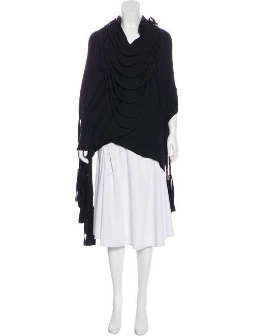 Junya Watanabe Fringed Knit Poncho Black