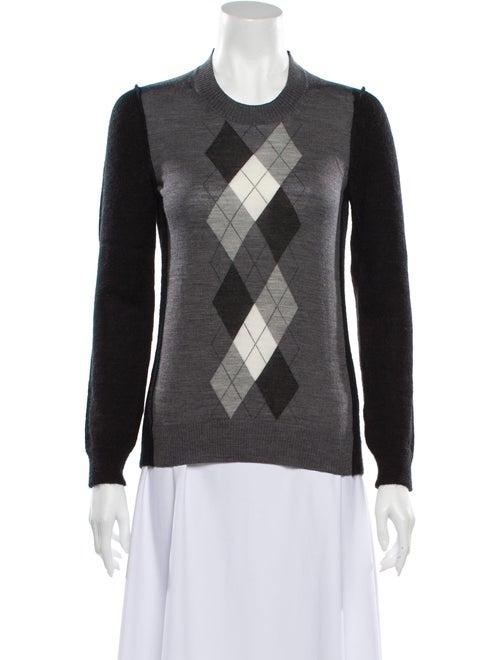 Junya Watanabe Plaid Print Crew Neck Sweater Black