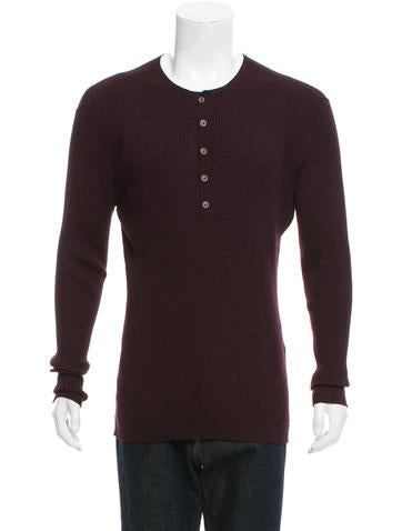 John Varvatos Wool Henley Sweater None
